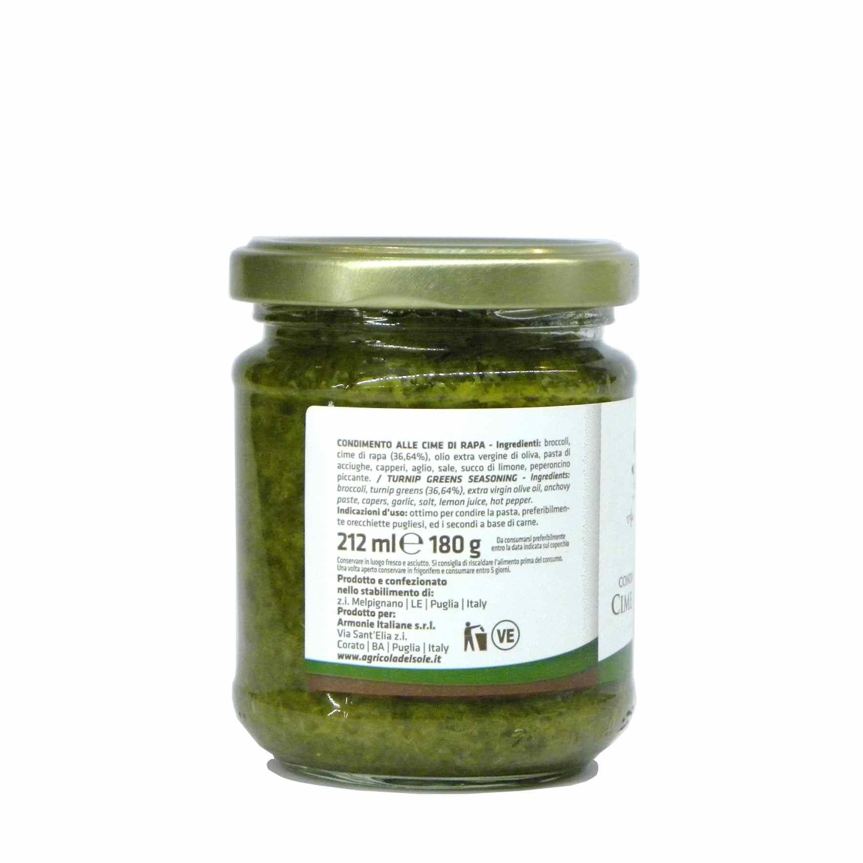 Agricola del Sole turnip green pasta sauce – Agricola del Sole condimento cime rapa – Gustorotondo – Italian food boutique