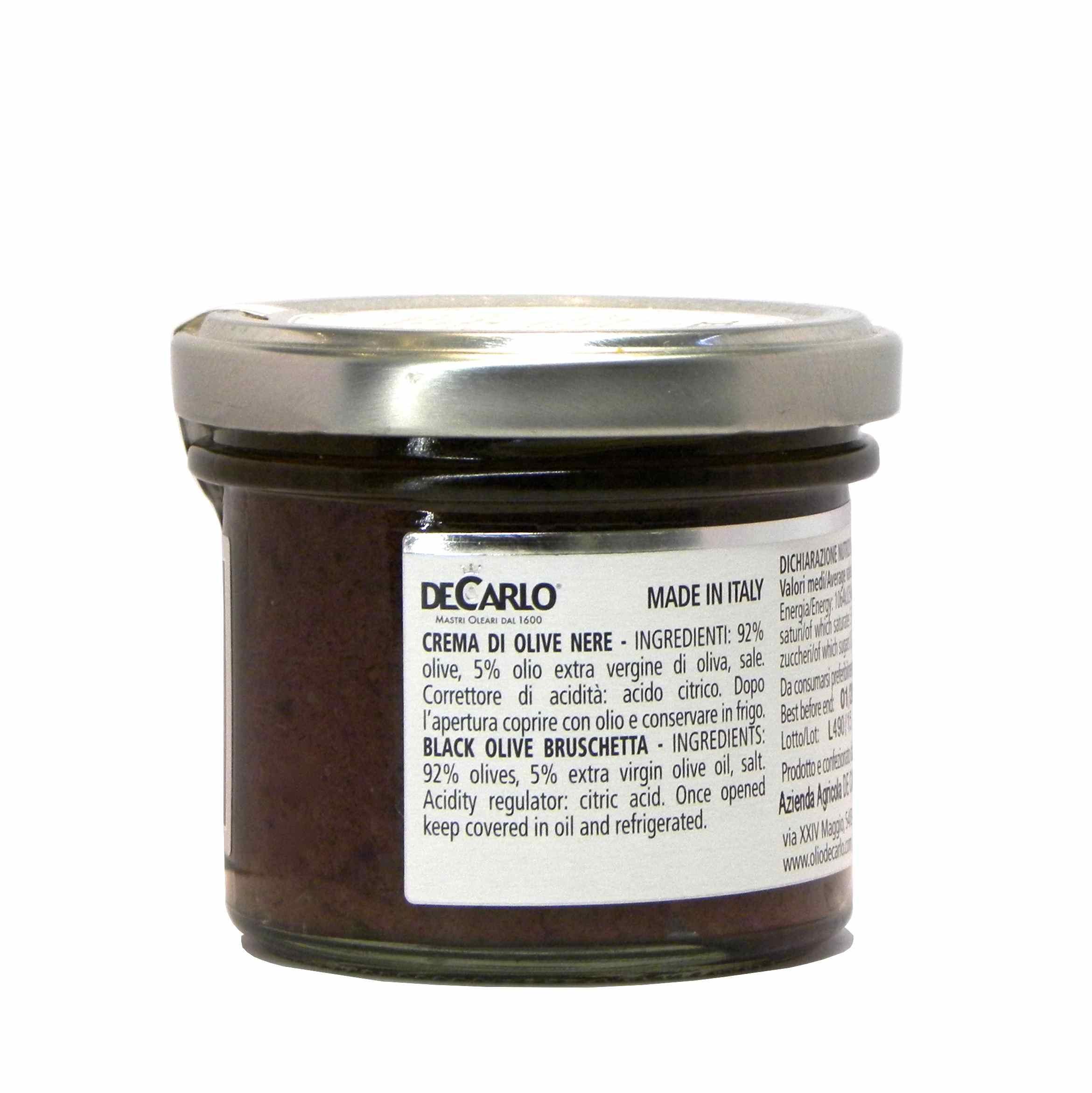 De Carlo crema olive nere – De Carlo black olive bruschetta – Gustorotondo – Italian food boutique
