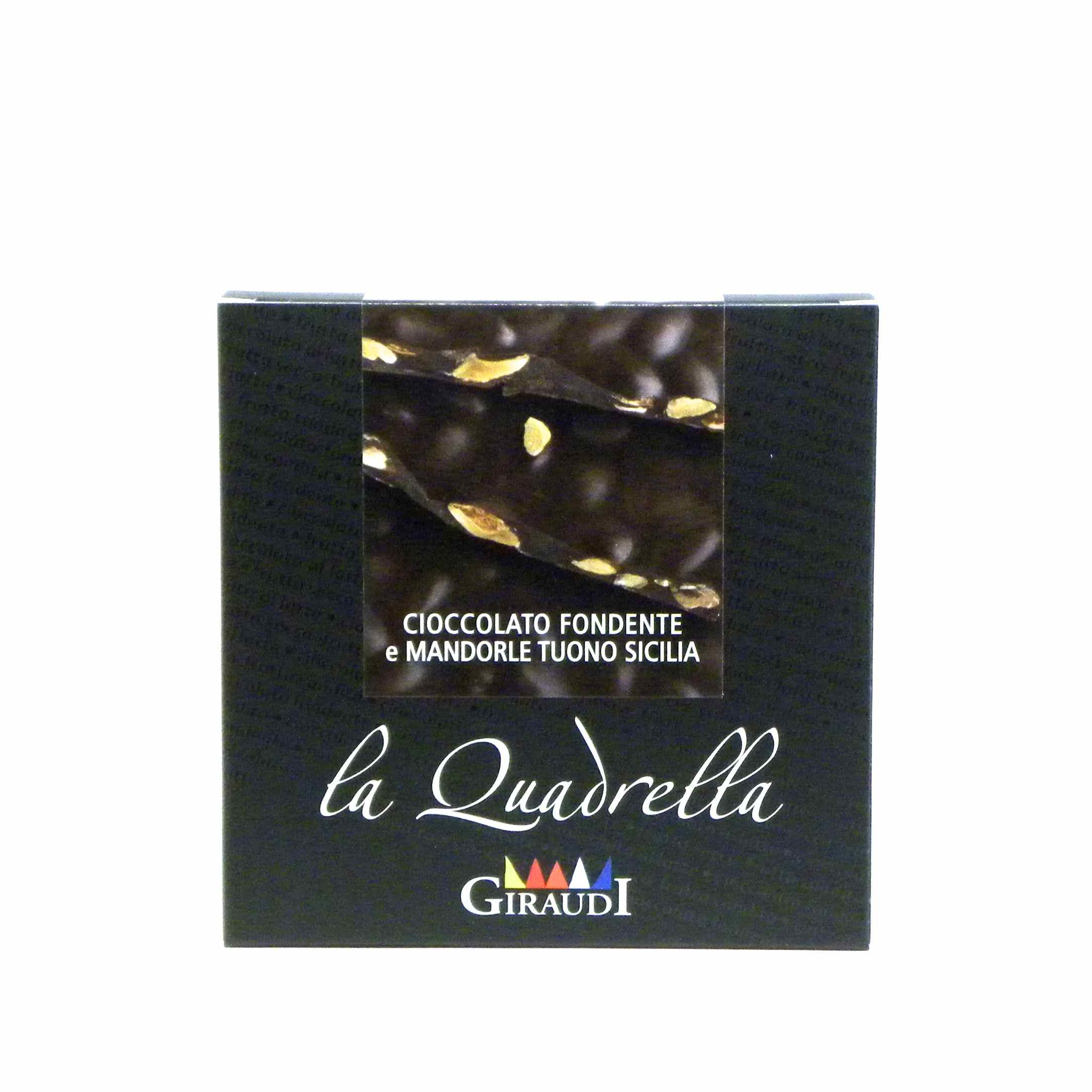 Giraudi quadrella mandorle cioccolato fondente – Giraudi quadrella dark chocolate almonds – Gustorotondo – Italian food boutique
