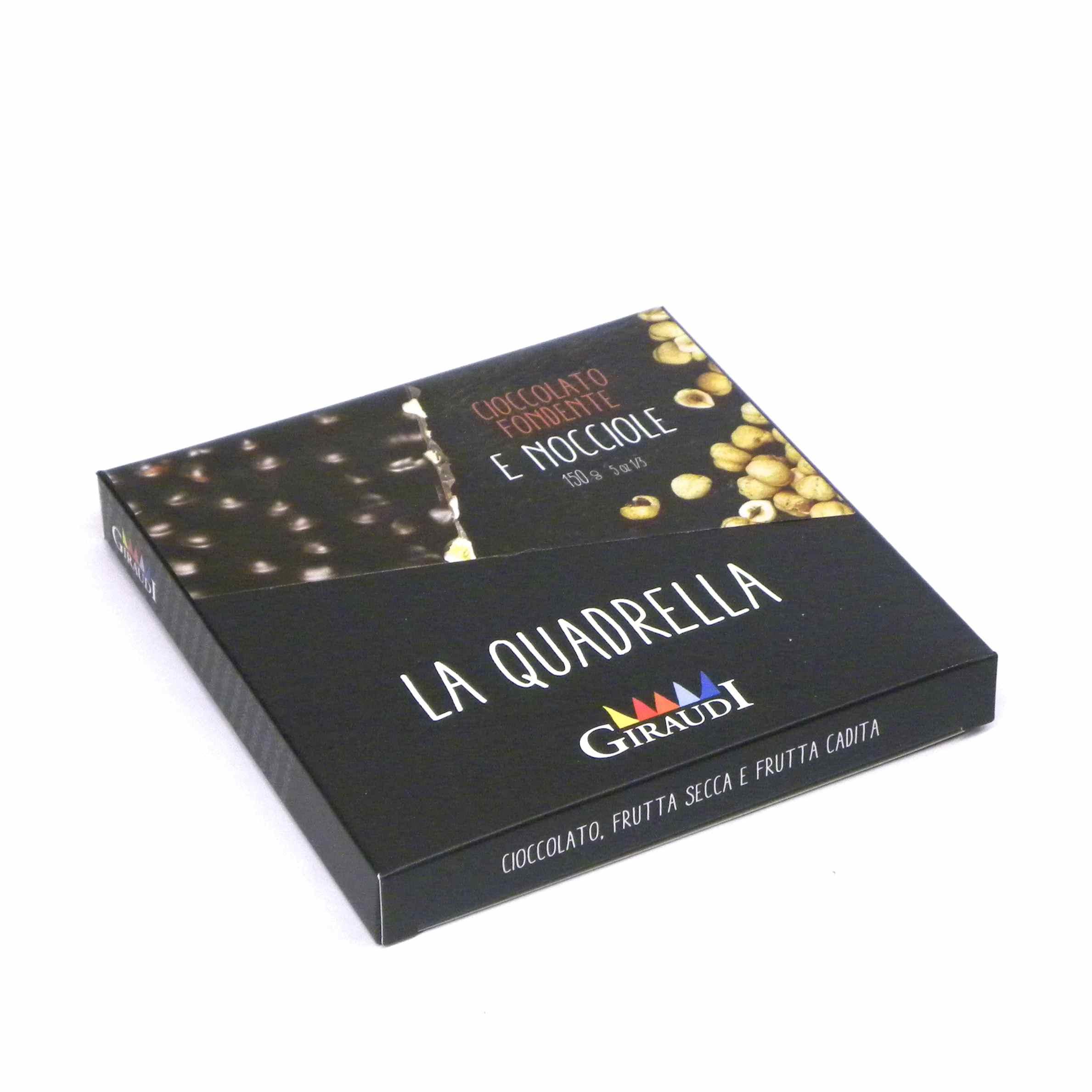 Giraudi quadrella nocciole cioccolato fondente – Giraudi quadrella dark chocolate hazelnuts – Gustorotondo – Italian food boutique