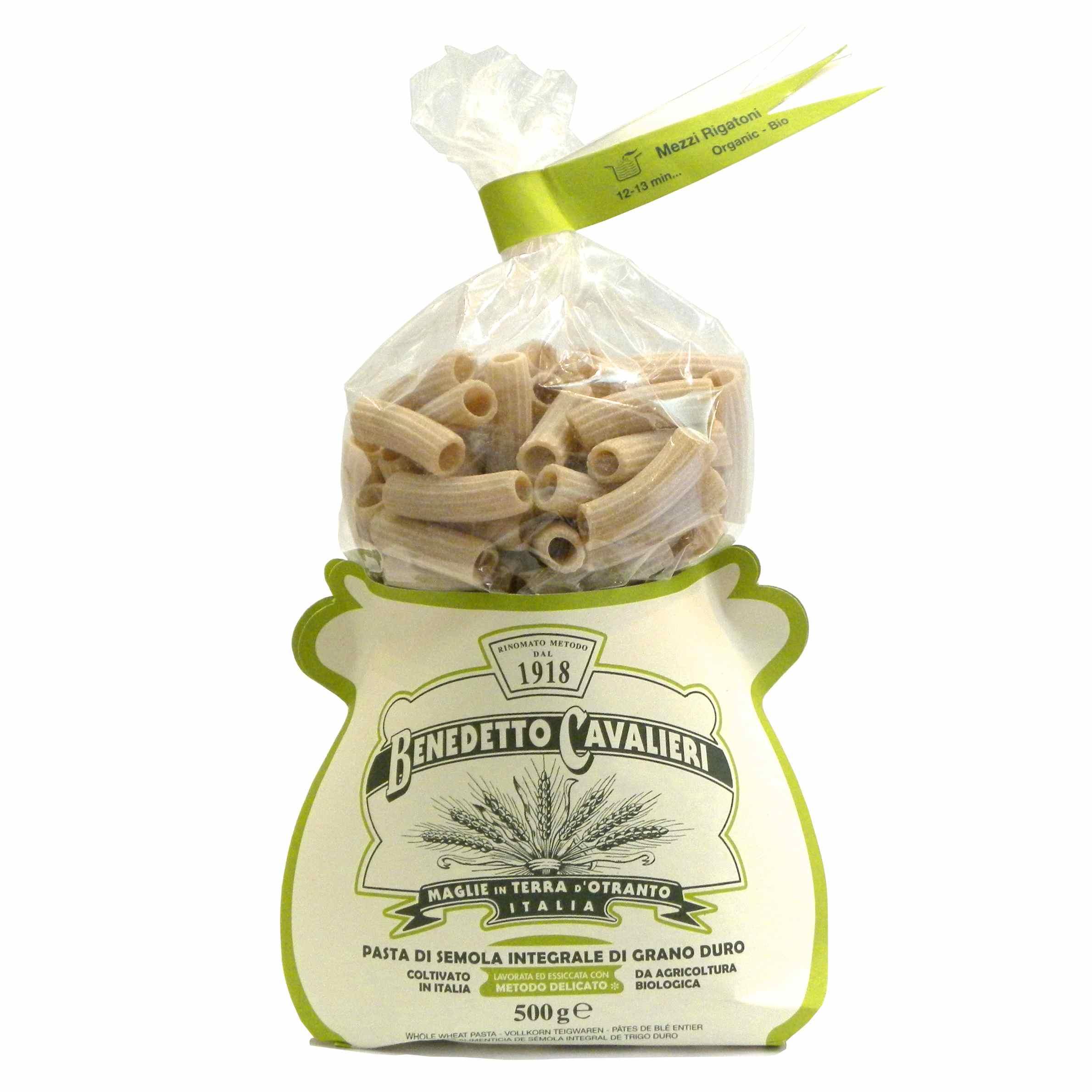 Benedetto Cavalieri Pasta Mezzi rigatoni Bio Integrali – Benedetto Cavalieri Organic Whole wheat pasta Mezzi rigatoni – Gustorotondo – Italian food boutique