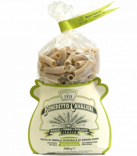 Benedetto Cavalieri Pasta Mezzi rigatoni Bio Integrali - Benedetto Cavalieri Organic Whole wheat pasta Mezzi rigatoni - Gustorotondo - Italian food boutique