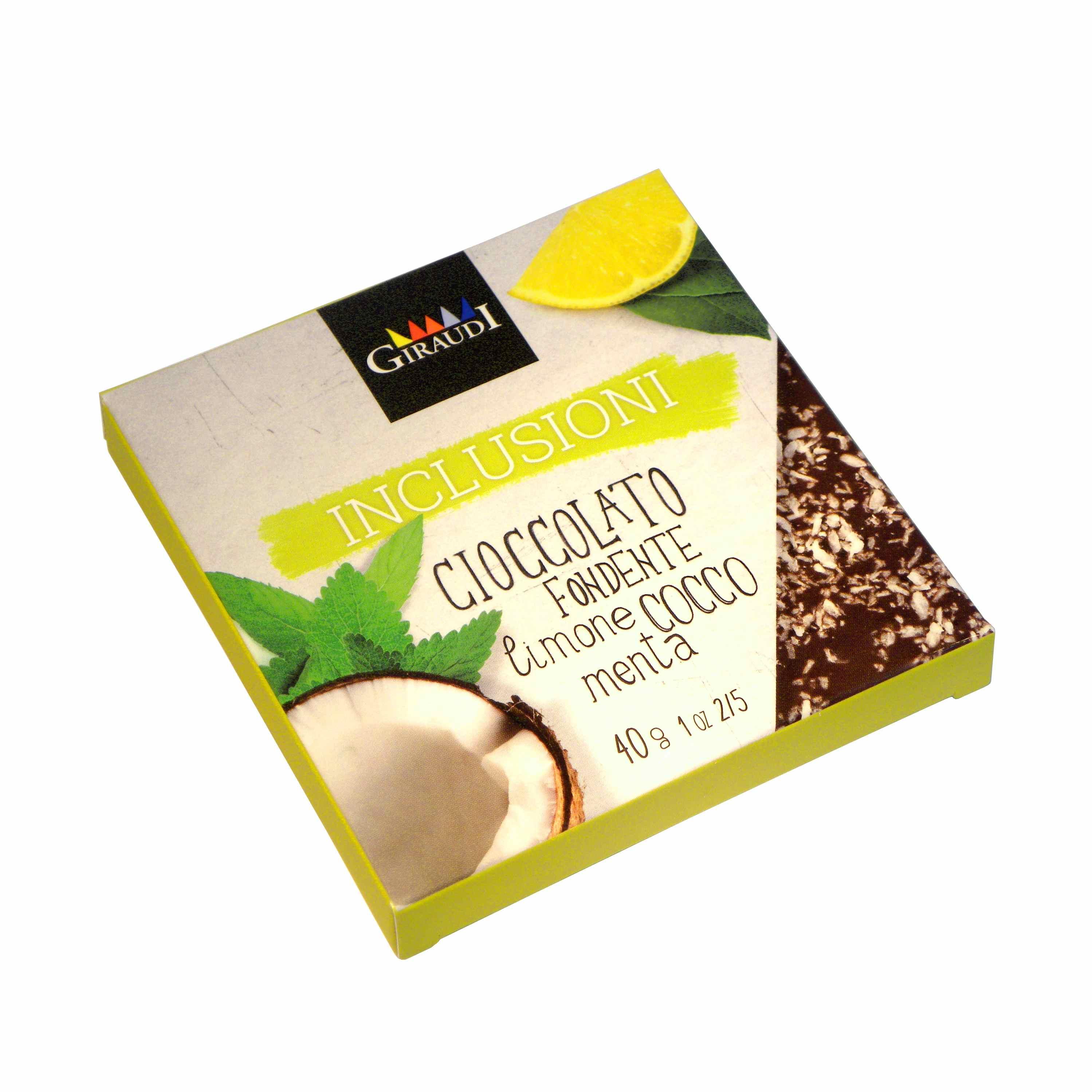 Giraudi tavoletta inclusioni limone cocco menta – Giraudi chocolate bar Dark Chocolate Lemon Coconut Mint  – Gustorotondo – Italian food boutique