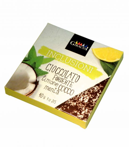 Giraudi tavoletta inclusioni limone cocco menta – Giraudi chocolate bar Dark Chocolate Lemon Coconut Mint  – Gustorotondo – Italian food boutique