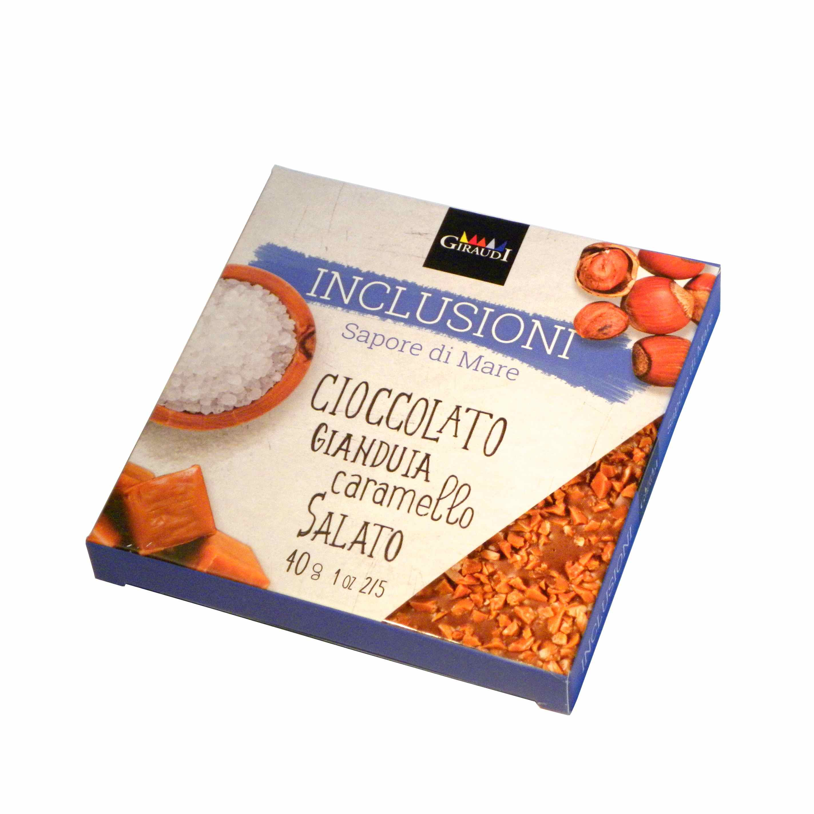 Giraudi tavoletta inclusioni gianduia caramello salato – Giraudi chocolate bar Gianduia with salted caramel  – Gustorotondo – Italian food boutique