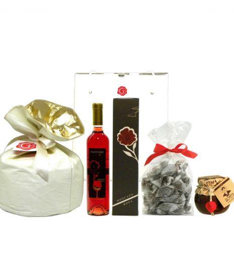 Confezione Regalo Panettone Moscato Amaretti Giacometta - Gift Box Panettone Moscato Amaretti Chocolate Spread - Gustorotondo - Italian Food Boutique