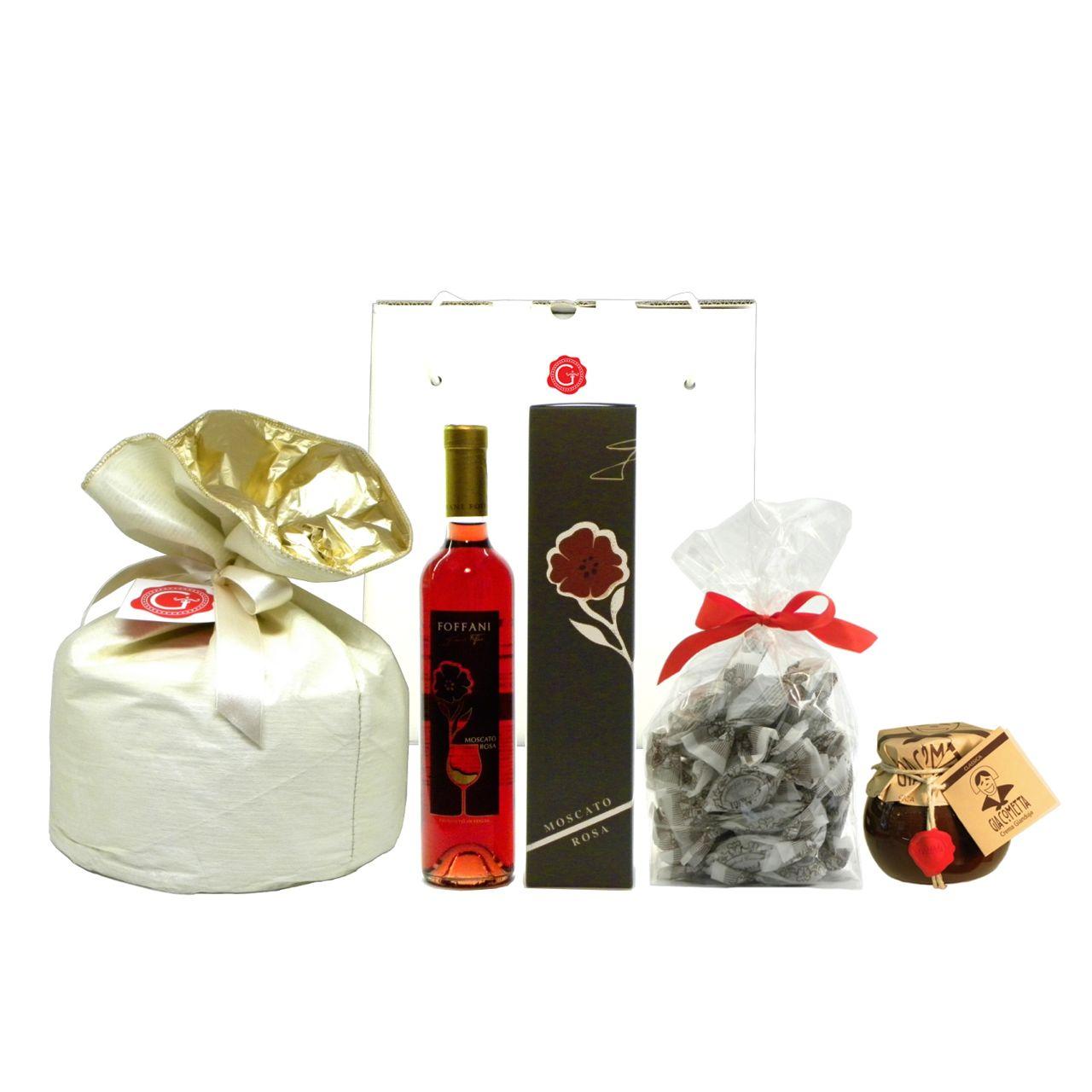 Confezione Regalo Panettone Moscato Amaretti Giacometta – Gift Box Panettone Moscato Amaretti Chocolate Spread – Gustorotondo – Italian Food Boutique