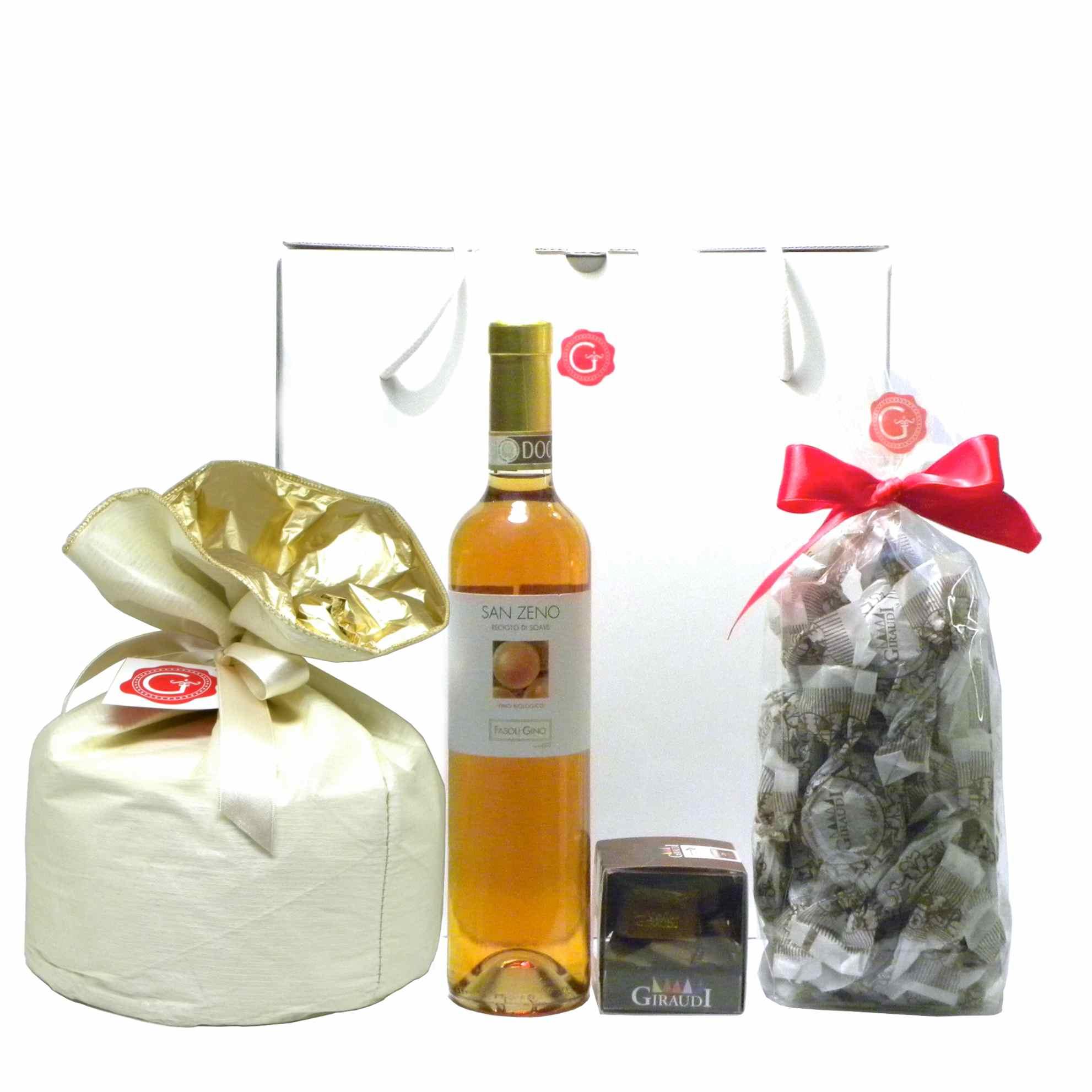 Confezione Regalo Panettone Recioto Gianduiotti Amaretti – Gift Box – Gustorotondo – Italian Food Boutique
