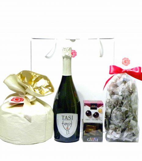 Confezione regalo Panettone lievito madre Prosecco Gianduiotti amaretti - Gift Box Panettone other yeast Prosecco wine gianduiotti chocolate - Gustorotondo - Italian food boutique