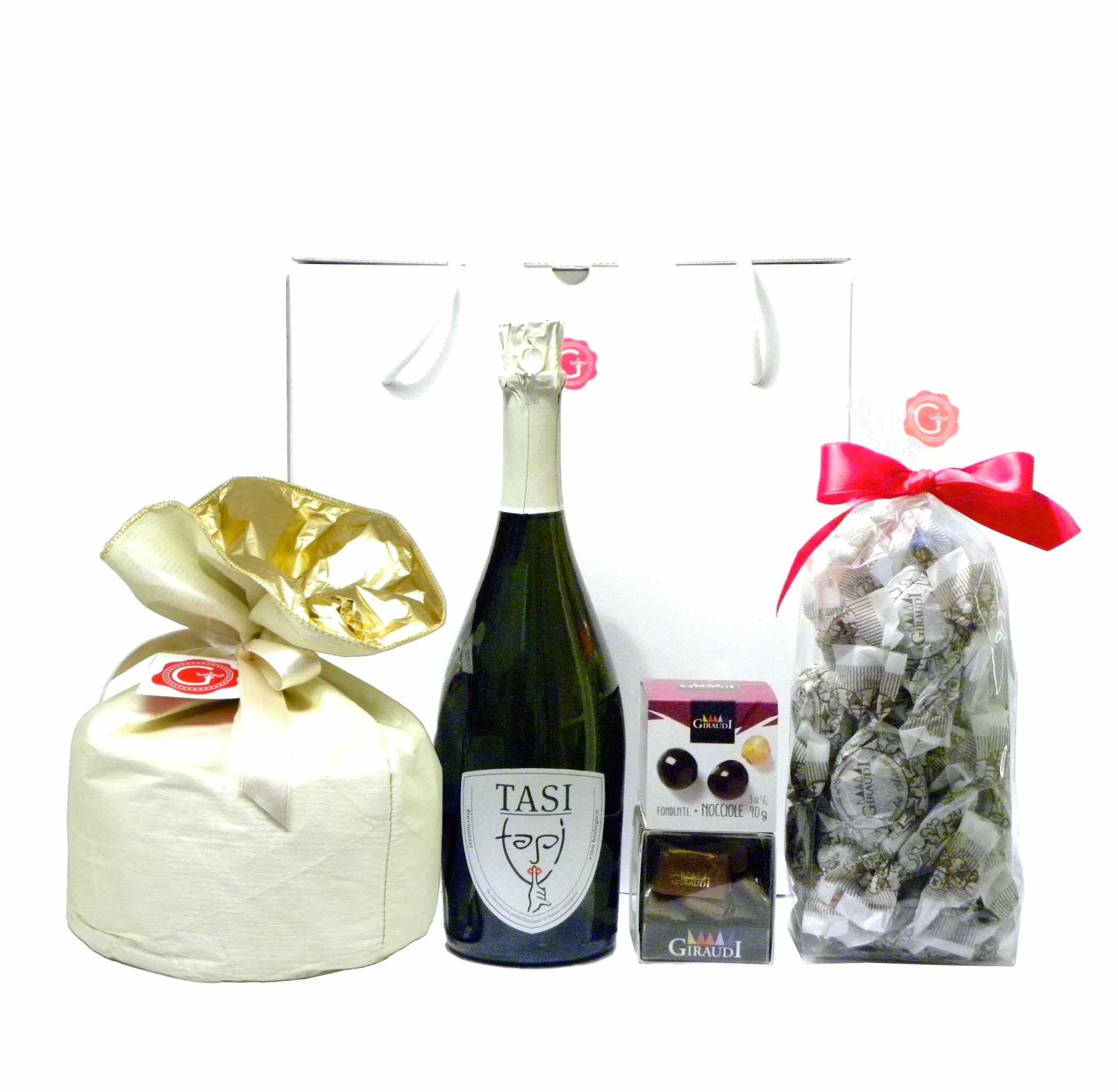 Confezione regalo Panettone lievito madre Prosecco Gianduiotti amaretti – Gift Box Panettone other yeast Prosecco wine gianduiotti chocolate – Gustorotondo – Italian food boutique