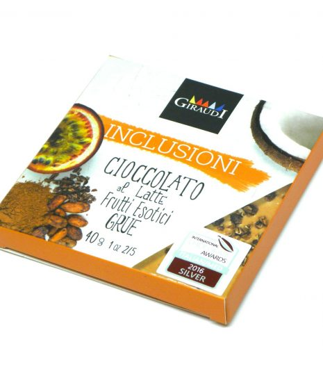 Inclusioni Giraudi Latte Frutti esotici Grue - Giraudi Inclusioni milk chocolate exotic fruits grue - Gustorotondo - Italian food boutique
