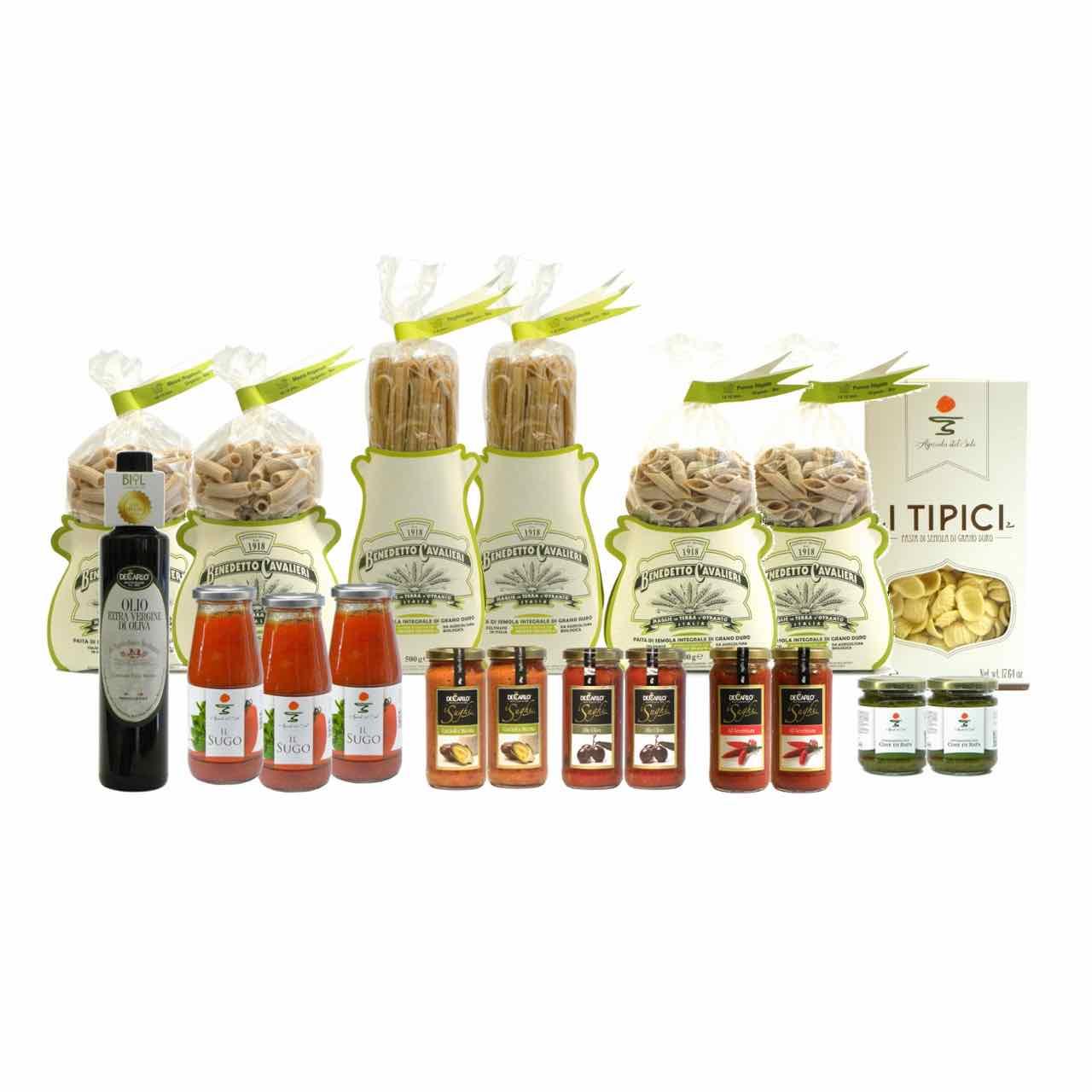 Confezione dispensa pasta integrale – Pantry italian wholewheat pasta – Gustorotondo Italian food boutique – I migliori cibi online – Best Italian foods online – spesa online