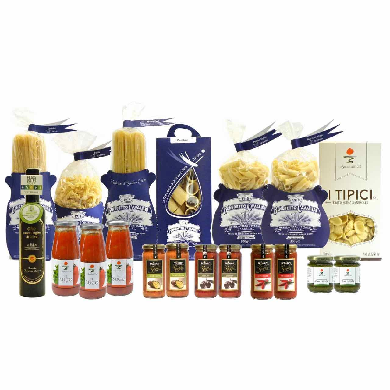 Confezione dispensa pasta classica –  Pantry Cavalieri Pasta Sauces EVO Oil – Gustorotondo Italian food boutique – I migliori cibi online – Best Italian foods online – spesa online
