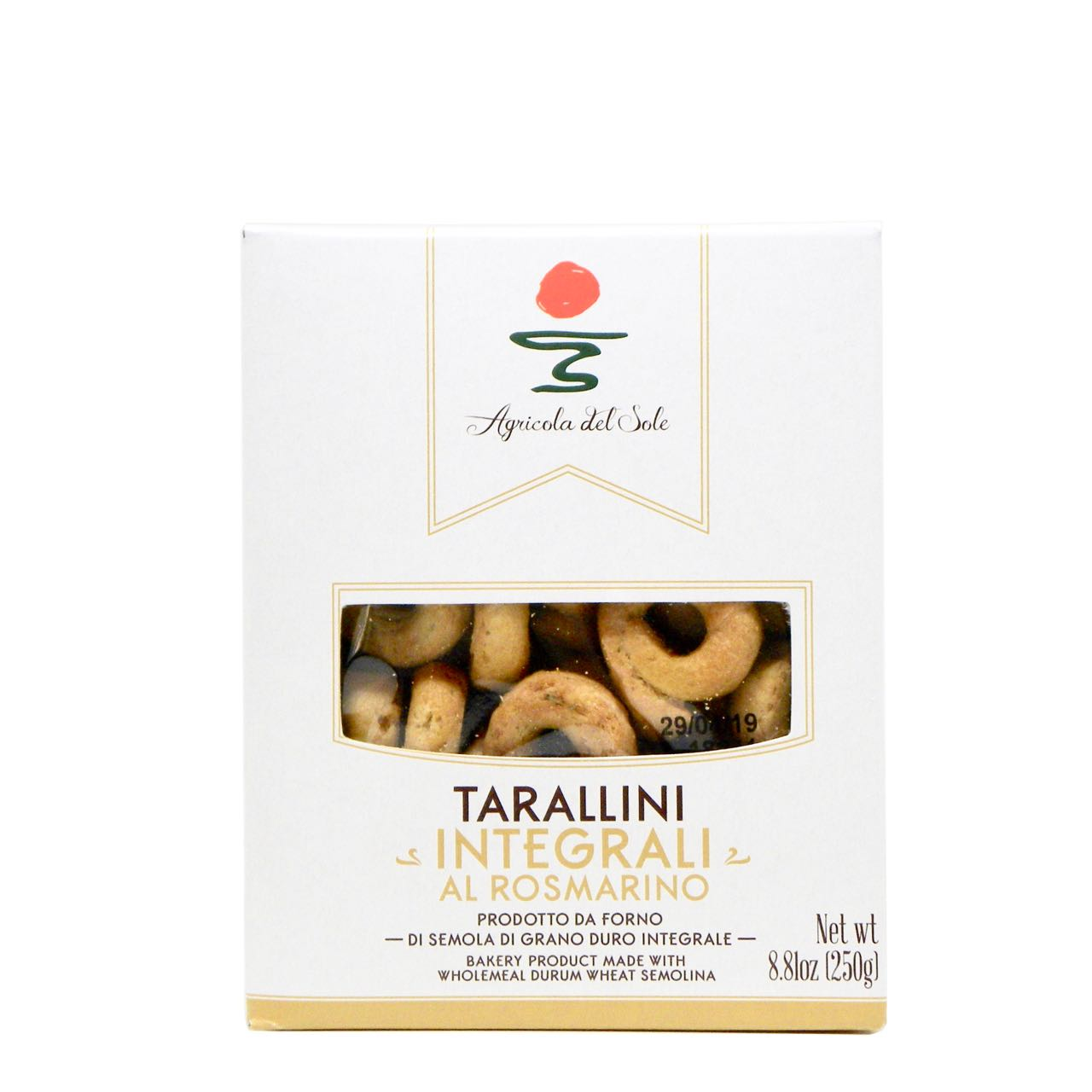 Tarallini integrali al rosmarino Agricola del Sole – Gustorotondo Italian food boutique – I migliori cibi online – Best Italian foods online – spesa online