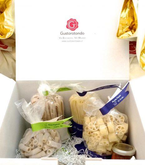 Confezione regalo Gustorotondo apertura esempio - Gustorotondo Gift Box opening example - Confezione regalo Gustorotondo - Gustorotondo Italian food boutique - I migliori cibi online - Best Italian foods online - spesa online