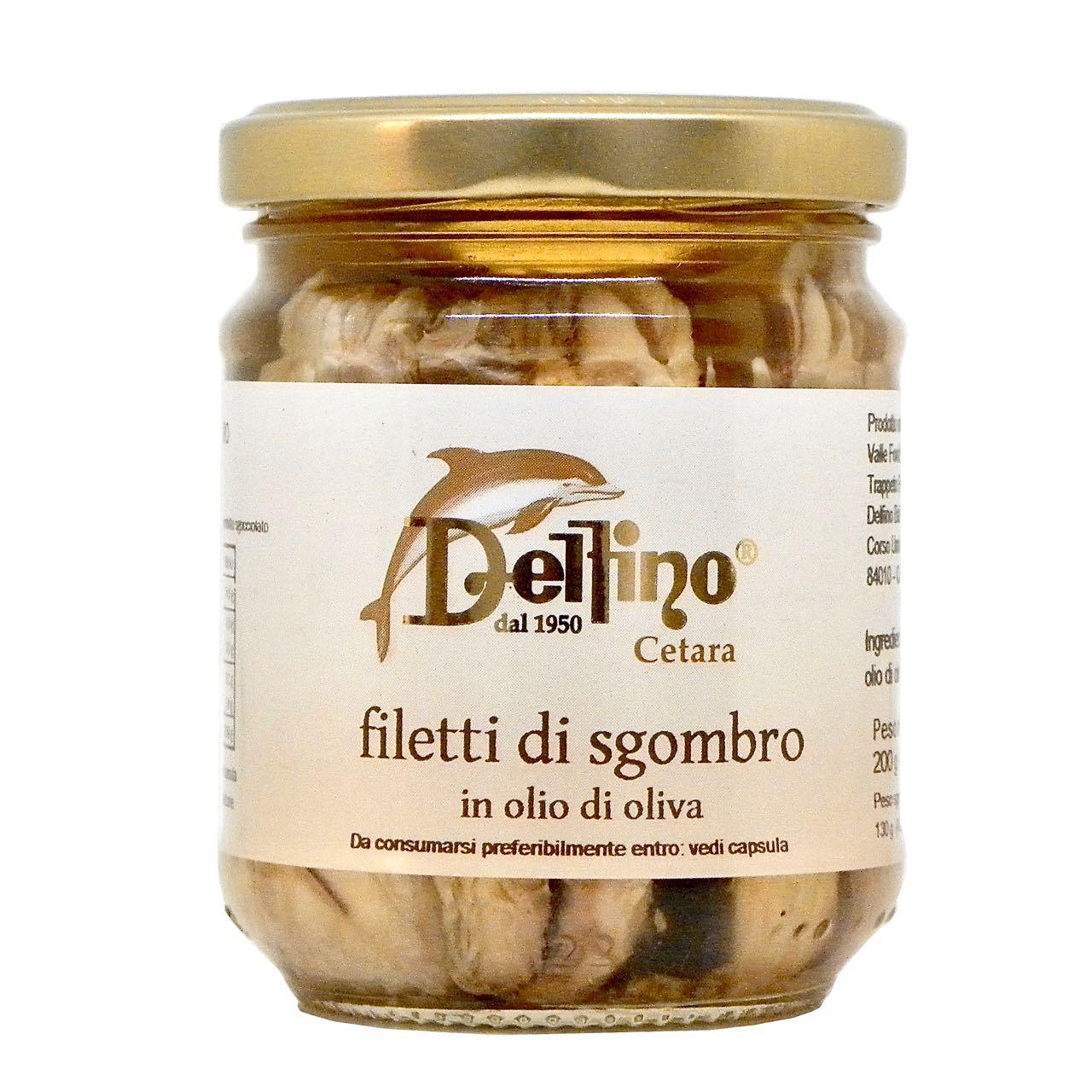 Filetti di sgombro Delfino Battista – Delfino Battista's Mackerel fillets in olive oil – Gustorotondo Italian food boutique – I migliori cibi online – Best Italian foods online – spesa online