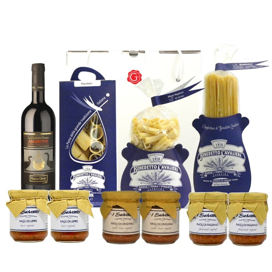 Confezione Regalo Amarone e Selvaggina – Amarone and Game Gift Box – Gustorotondo Italian food boutique – I migliori cibi online – Best Italian foods online – spesa online
