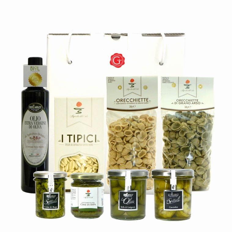 Confezione regalo sapori di Puglia – Apulian flavors gift box – Gustorotondo Italian food boutique – I migliori cibi online – Best Italian foods online – spesa online