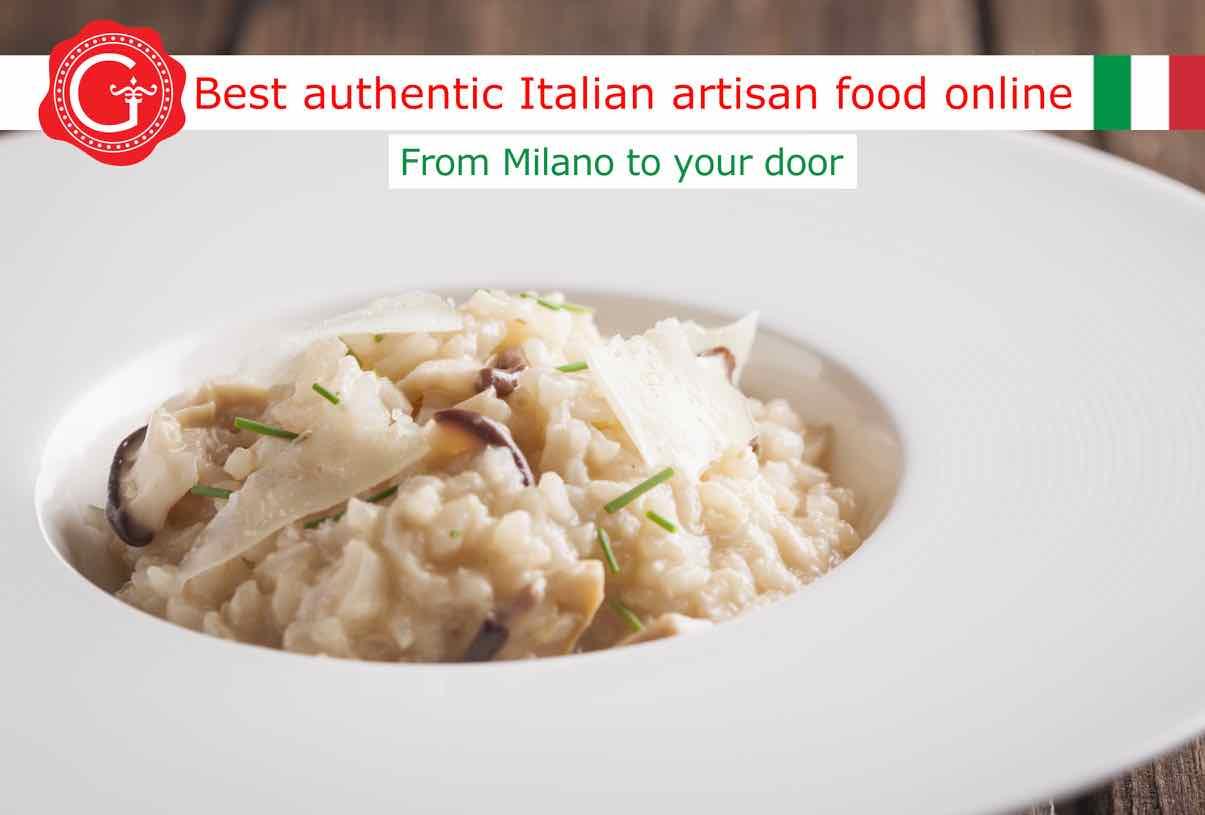 mushroom risotto recipe - Gustorotondo Italian food shop - best authentic artisan Italian food online - vendita online dei migliori cibi artigianali