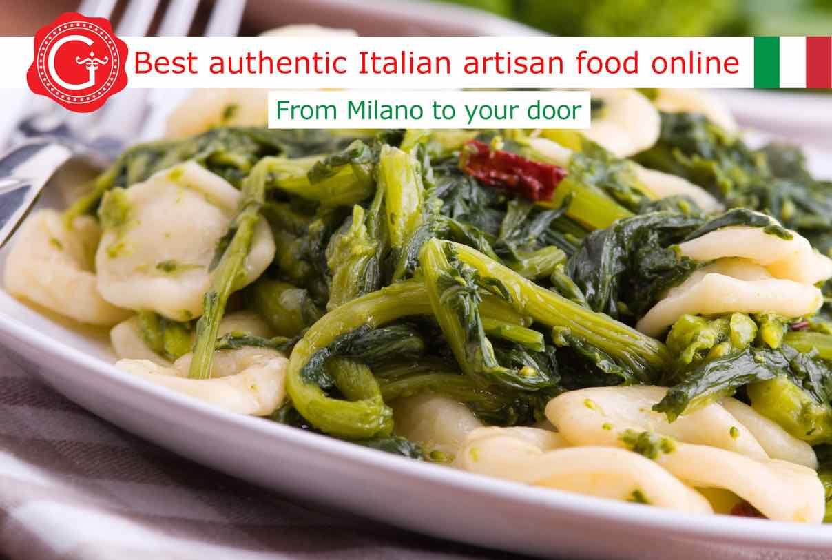Orecchiette pasta with turnip tops - Gustorotondo Italian food shop - best authentic artisan Italian food online - vendita online dei migliori cibi artigianali