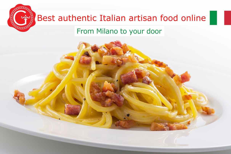spaghetti carbonara - Gustorotondo Italian food shop - best authentic artisan Italian food online - vendita online dei migliori cibi artigianali