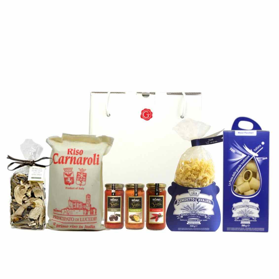 confezione regalo – primi con gusto – Gustorotondo – spesa online –  Gustorotondo online shop – i migliori cibi online – vendita online dei migliori cibi italiani artigianali