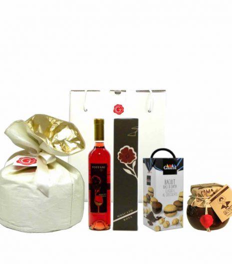 confezione regalo panettone moscato baci Giacometta - Gustorotondo - spesa online