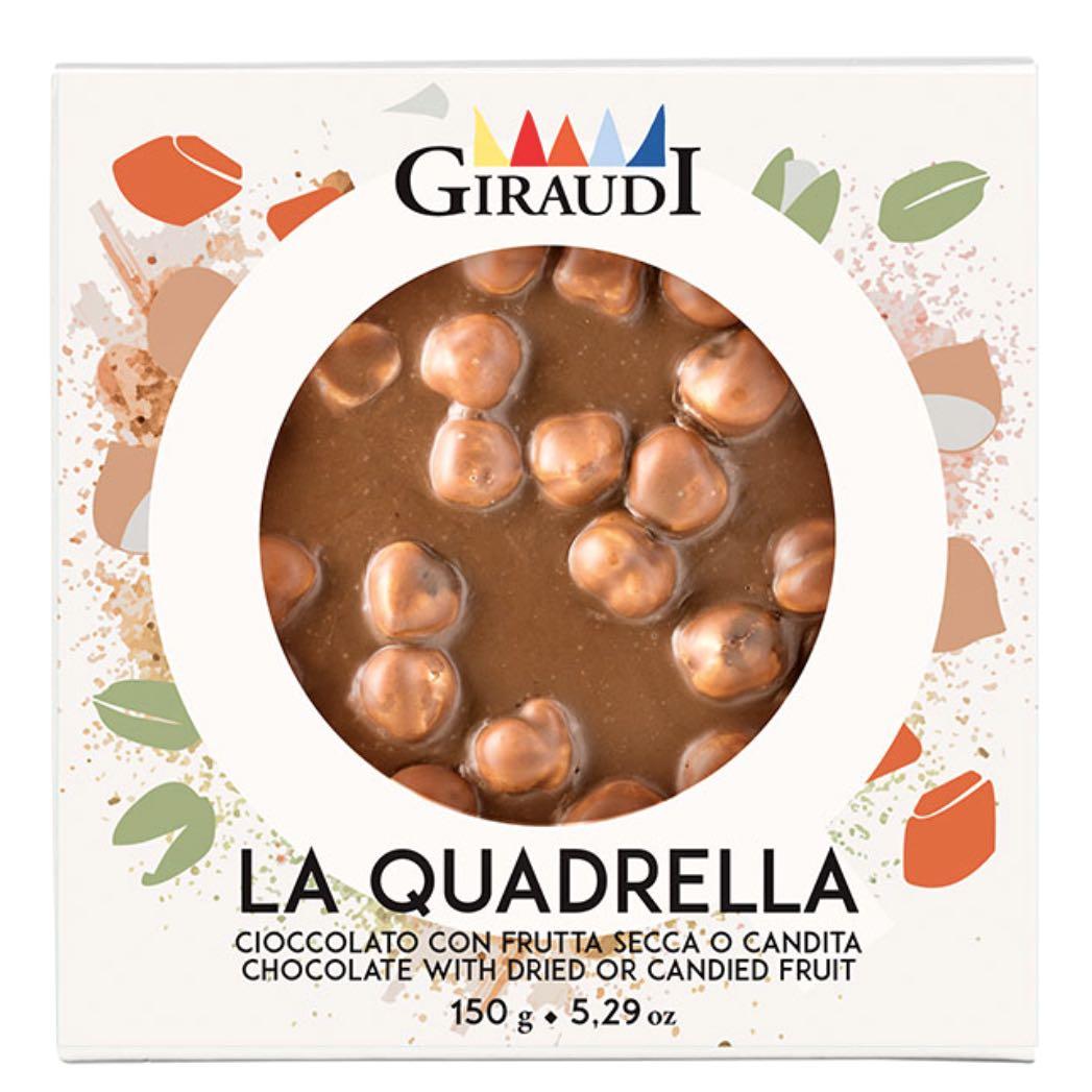 Quadrella Giraudi cioccolato latte e nocciole confezione – Gustorotondo – buono sano artigiano – spesa online