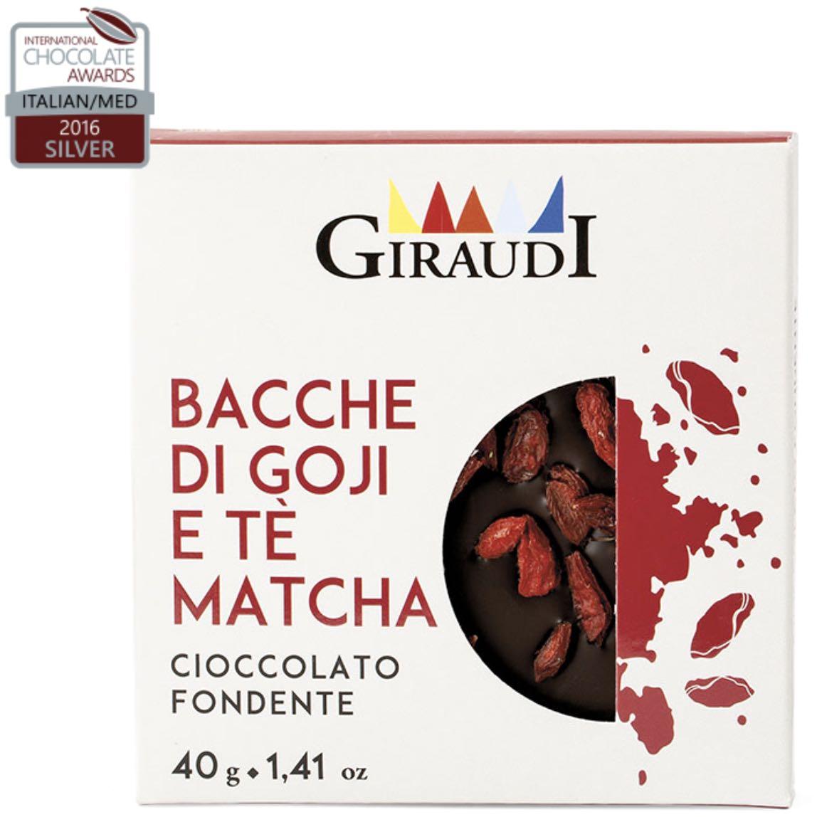 Giraudi cioccolato tavoletta bacche goji e tè matcha – Gustorotondo – buono sano artigiano – spesa online