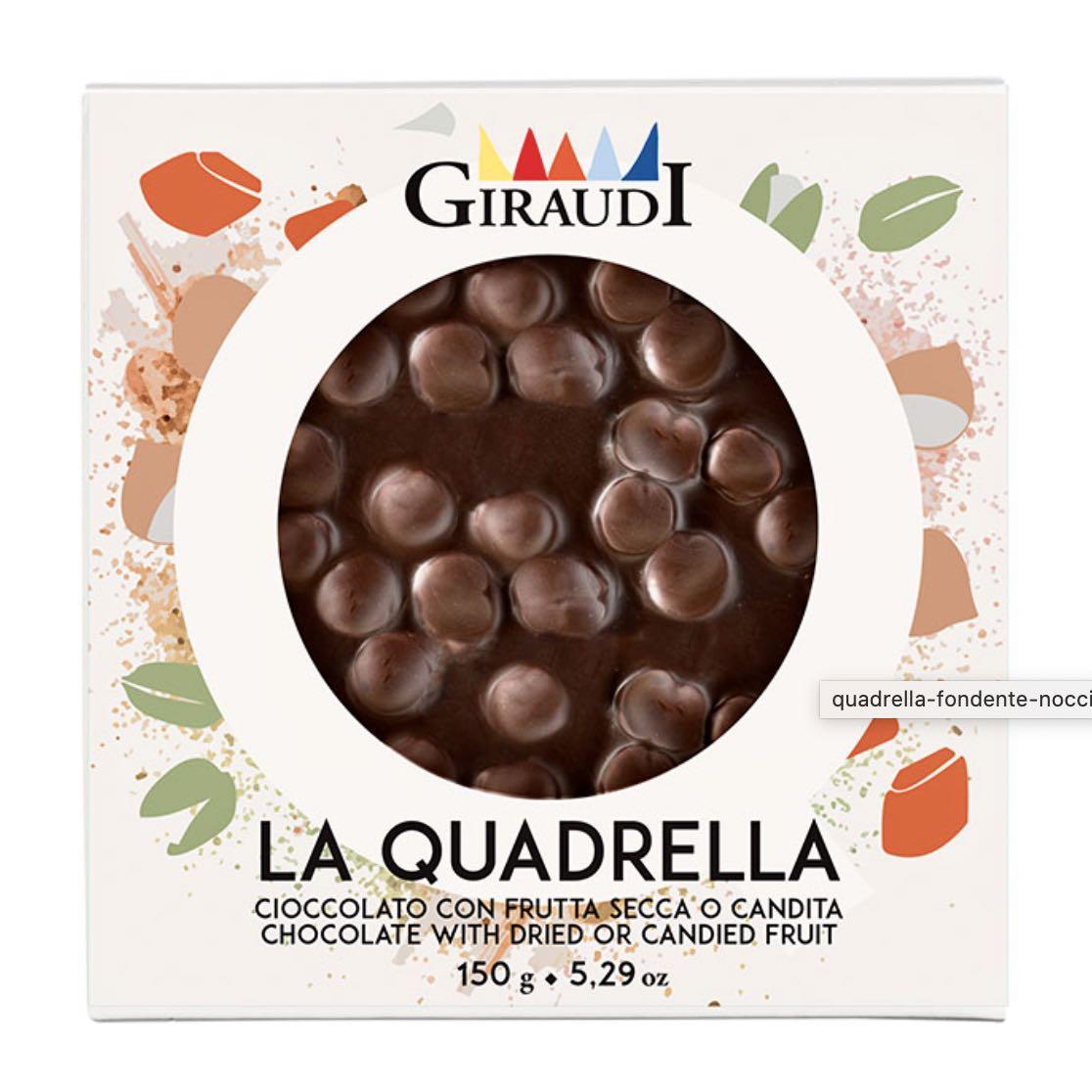 Quadrella Giraudi fondente e nocciole confezione – Gustorotondo – buono sano artigiano – spesa online