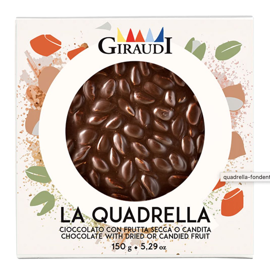 Quadrella Giraudi fondente e pistacchi confezione – Gustorotondo – buono sano artigiano – spesa online